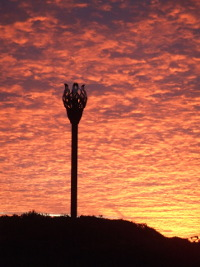 An image showing Danby Beacon at sunset