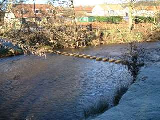 A view of Lealholm stepping stones across the River Esk