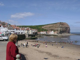 A view of Staithes taken in the harbour